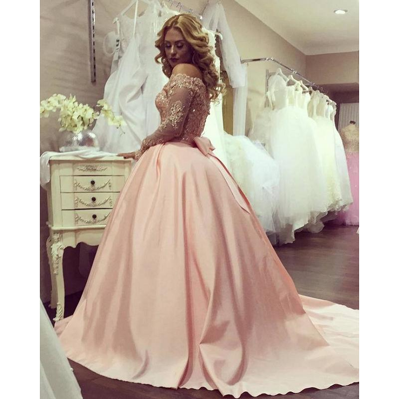 Pink Ball Gown   Prom     Dresses   2019 vestidos de fiesta largos elegantes de gala Long Sleeve Special Occasion   Dress   Evening Gowns