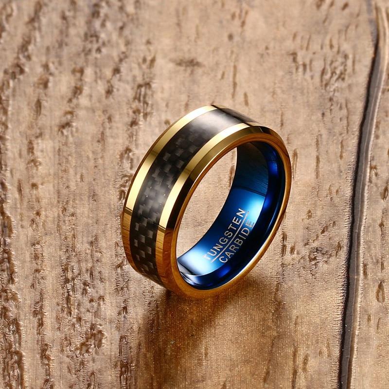 Herren Ringe Wolfram Hartmetall Ring 8mm Schwarz Carbon Fiber Inlay