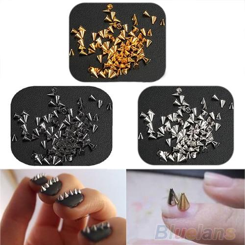200 Pcs Moda prego acessório de Metal Spikes Cone Do Punk Metallic Nail Art Decoração Dica DIY Rivet 02EH 2U4K