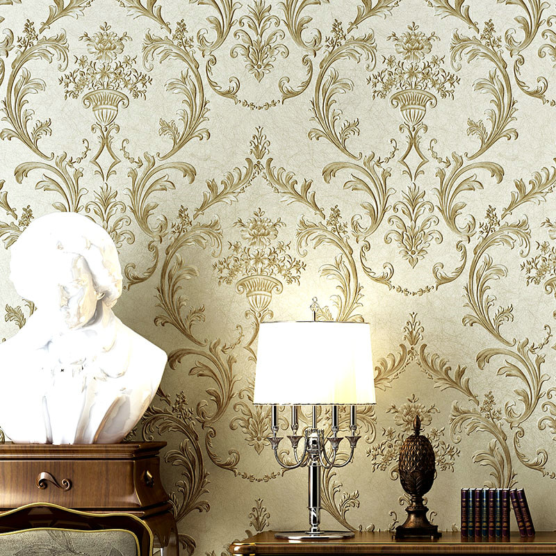 Luxury Damask Wallpaper Roll Non-woven 3D Embossed Living Room Bedroom TV Background Wall Papel European Style Papel De ParedeLuxury Damask Wallpaper Roll Non-woven 3D Embossed Living Room Bedroom TV Background Wall Papel European Style Papel De Parede