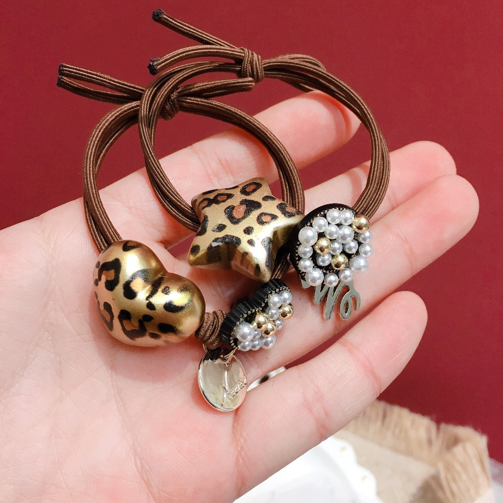 Korea Leopard print Pearl Letter Double Knotted Elastic Hair Bands Hair Accessories Rubber Band Hair Ring Hair Ties in Women 39 s Hair Accessories from Apparel Accessories