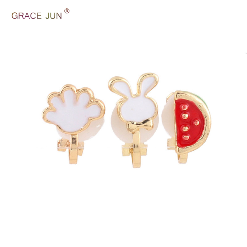 Earrings 7 Colors Choose Cute Small Rabbit Cat Fish Bee Clip On Earrings No Pierced For Girl Charm Jewelry Neednt Ear Hole Not Allergy Clip Earrings