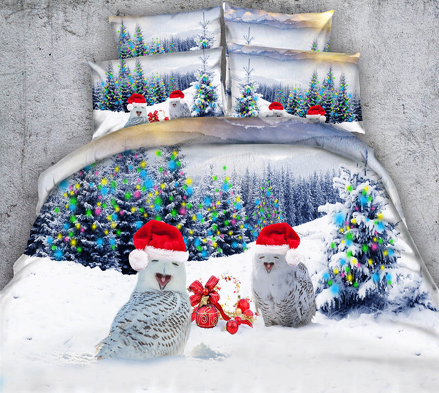 Christmas Bedding Sets S Kids Snow Man Print Comforter Duvet Cover Single Twin Queen