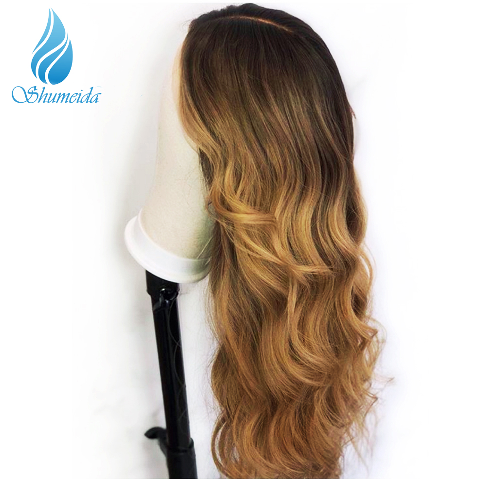 Image 3 - SHD Ombre Color Lace Front Wigs for Women Brazilian Remy Hair Middle Part Wigs 100% Human Hair Front Lace Wig with Baby Hair-in Human Hair Lace Wigs from Hair Extensions & Wigs