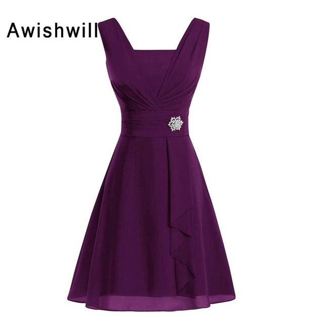 Custom Made Purple Blue Red Sleeveless Beads Brooch Chiffon Knee Length Wedding Party Dress For Women