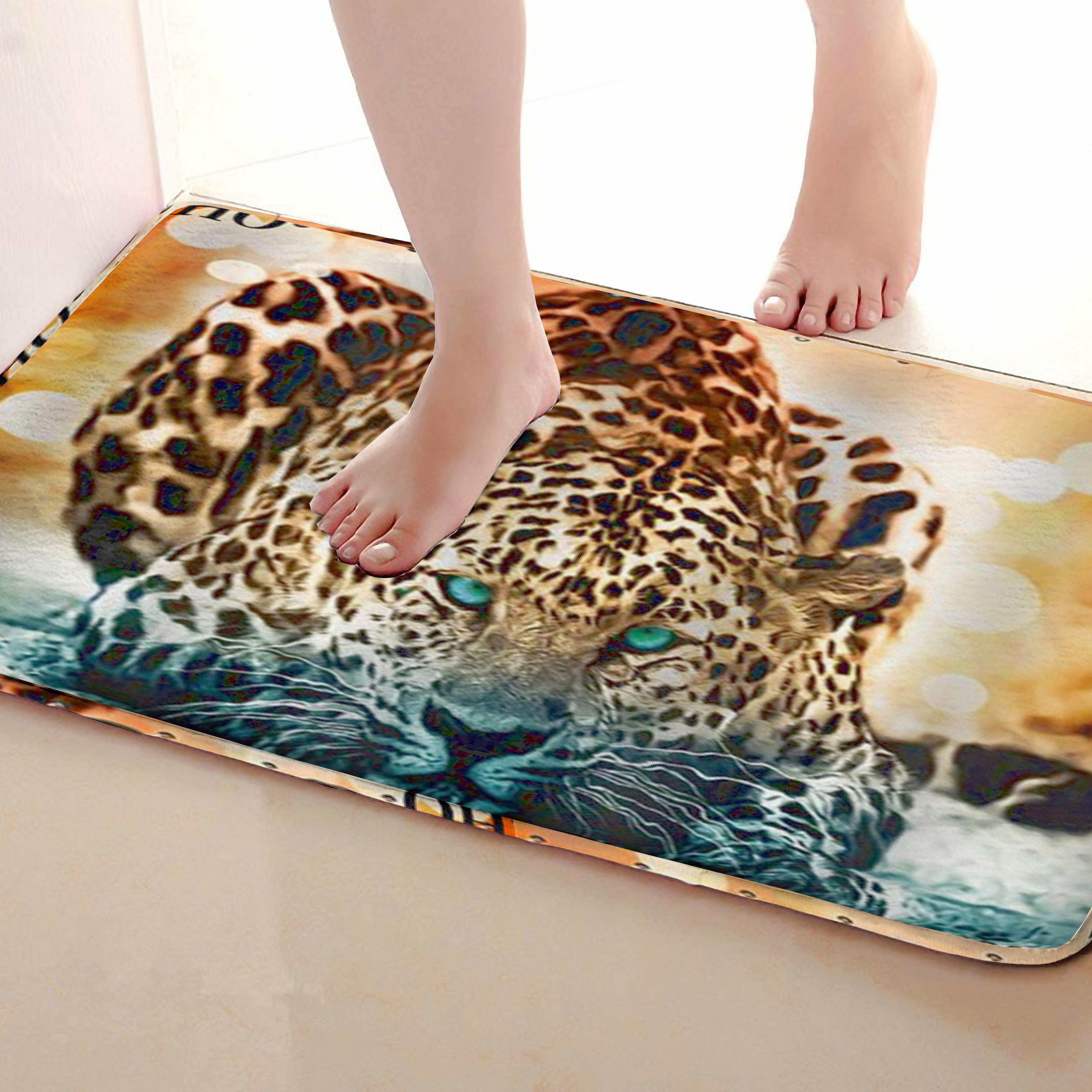 Leopard Style Bathroom Mat,Funny Anti Skid Bath Mat,Shower Curtains Accessories,Matching Your Shower Curtain