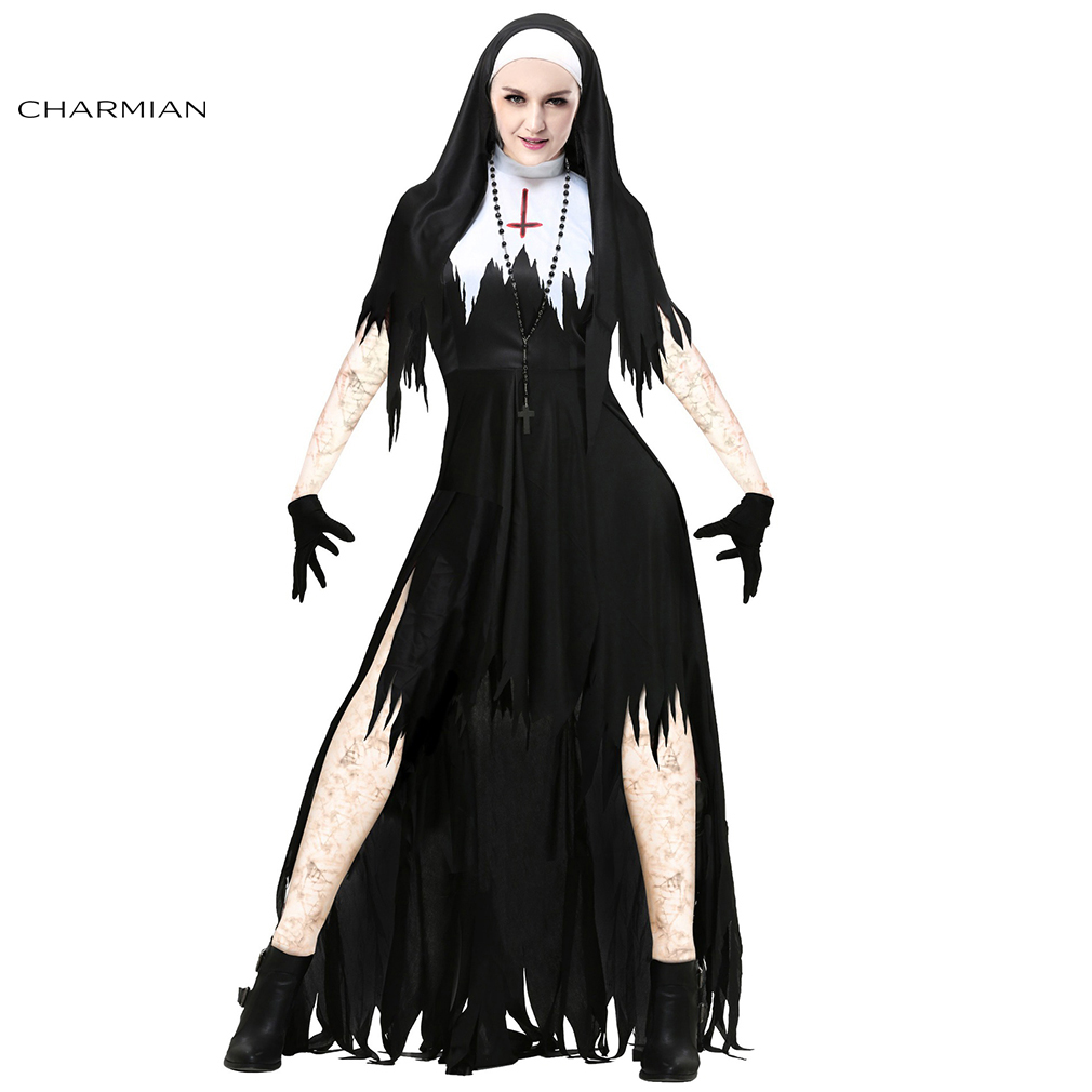 Charmian Deluxe Women Nun Halloween Costume Adult Gothic Devil Carnival Cosplay Party Costume Fancy Dress Clothes Dresses