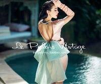 FREE SHIPPING Le Palais Vintage elegant retro pink Halter Dress Large Bow Satin Dress sheath dress