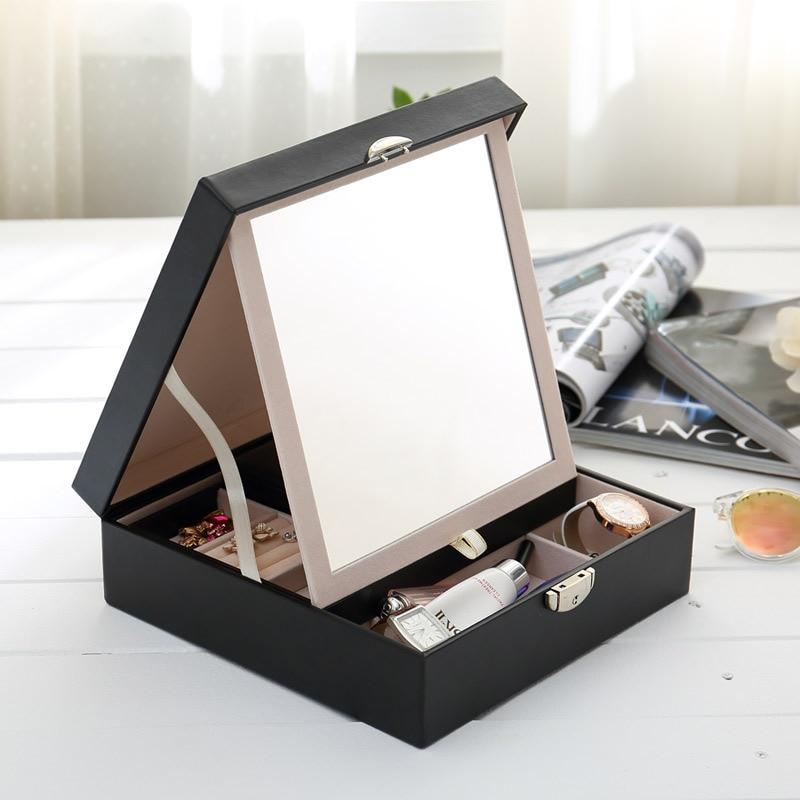 Boîte à bijoux créative multifonctionnelle de couleur Pure boîte à bijoux en bois avec miroir et serrure tiroir organisateur coffre au trésor