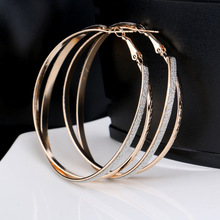 Matte and textured big hoop pierced Earrings double circles round ear ring bijoux for women lady fashion