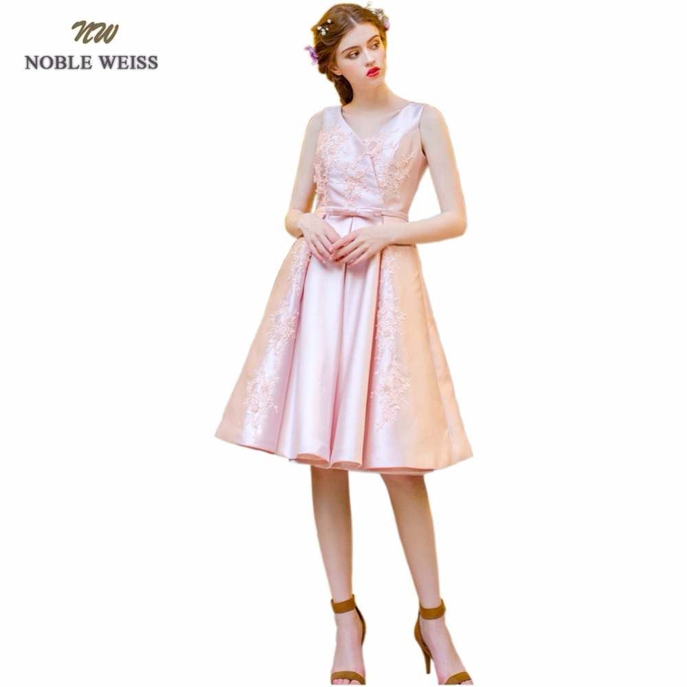 NOBLE WEISS Short Appliques   Prom     Dress   2019 Customized Fashion V-Neck Pink Satin Party Gown   Dresses