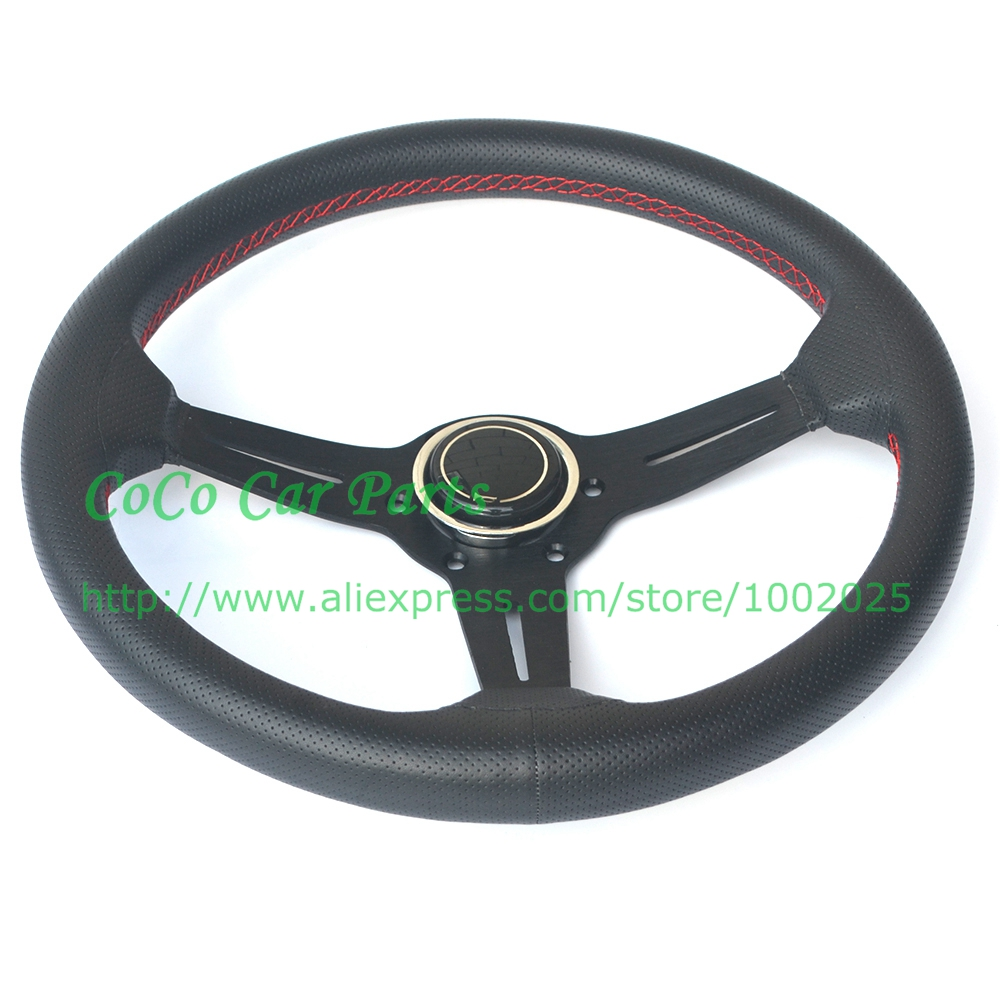 Free Shipping ND Racing Car Steering Wheel Leather With small Holes 350mm Universal Sport Car Steering