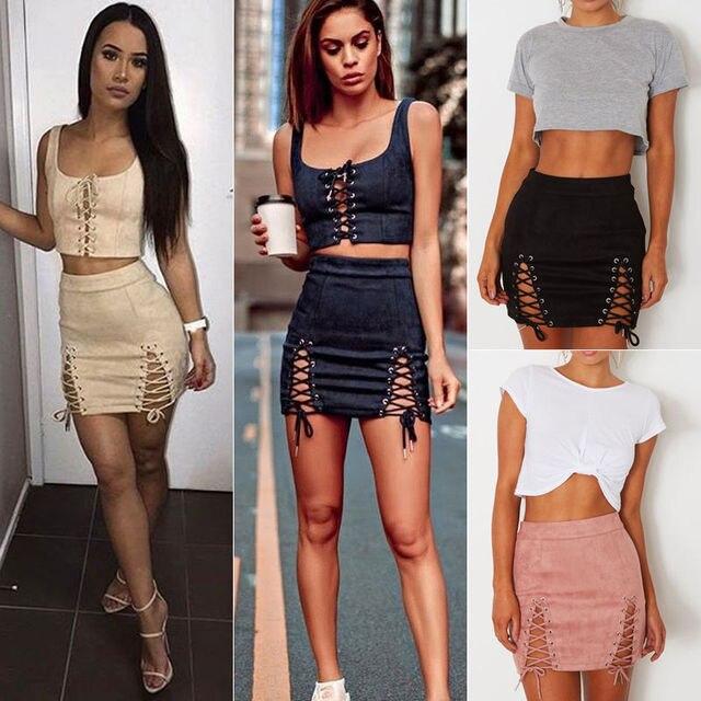 435cd4dc2 € 3.59 40% de DESCUENTO|2018 nuevo estilo de moda verano mujeres Suede  falda encaje hasta la cintura alta lápiz vendaje Mini lápiz faldas en ...