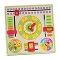 Reloj calendario rompecabezas placa colgante multifuncional rompecabezas educativos juguetes de madera para niños