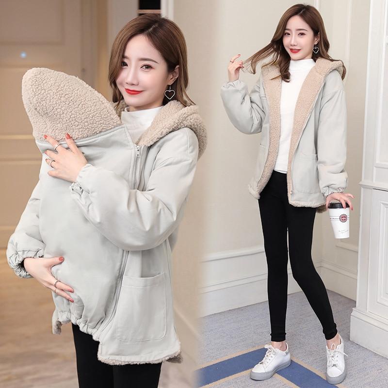 2020 New Mom Autumn Winter Long-sleeved Maternity Kangaroo Coats Pregnant Loose Fashion Plus Velvet Baby Carrier Hooded Jacket