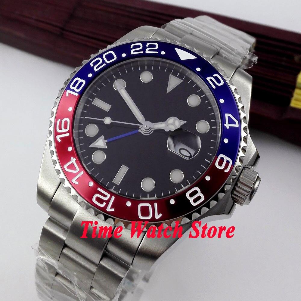 Bliger 43mm Black Sterile dial blue red bezel sapphire glass GMT Automatic movement Men's watch 363