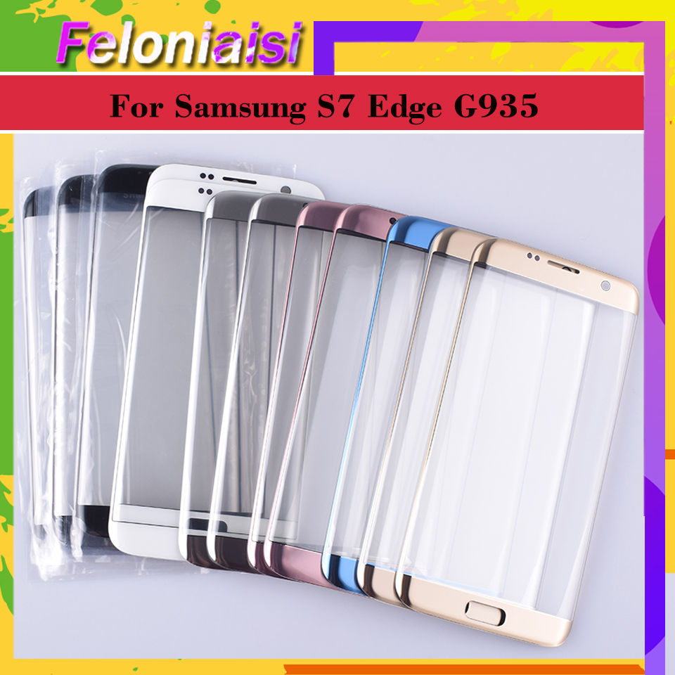 10Pcs/lot For Samsung Galaxy S7 Edge G935 G935F <font><b>G9350</b></font> <font><b>SM</b></font>-G935F Touch Screen Front Glass Panel TouchScreen Outer Glass Lens image