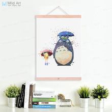 Watercolor Totoro Japanese Miyazaki Anime Natural Wood Framed Canvas Painting Kids Girl Room Decor Scroll Wall Art Poster Hanger(China)