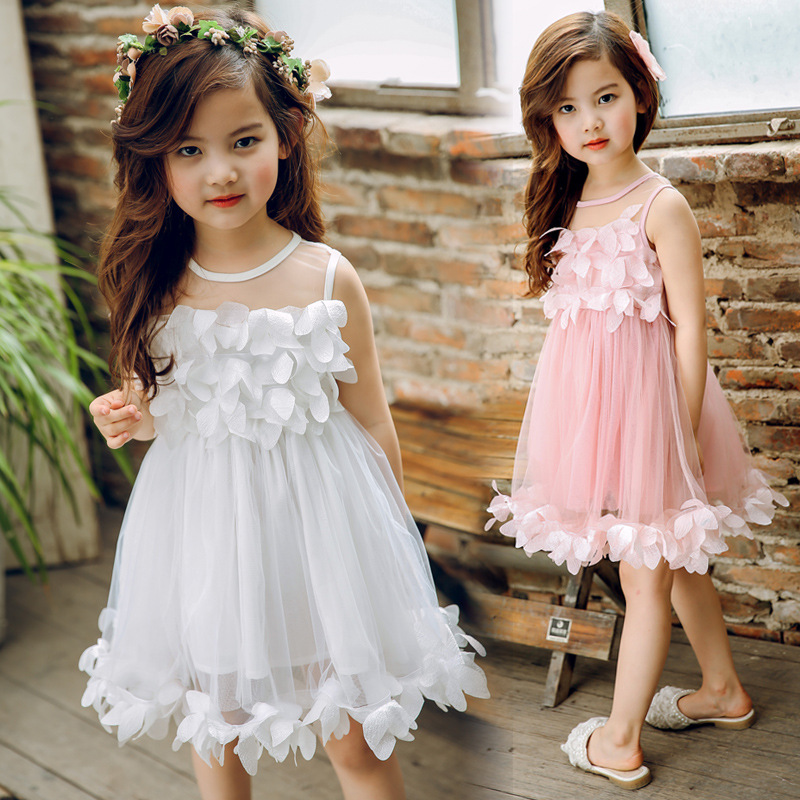 2017 New Fashion Summer Flower Girls Clothes Birthday Children Clothing Wedding Party Kids Dresses Girl Princess Dress 12 13 14