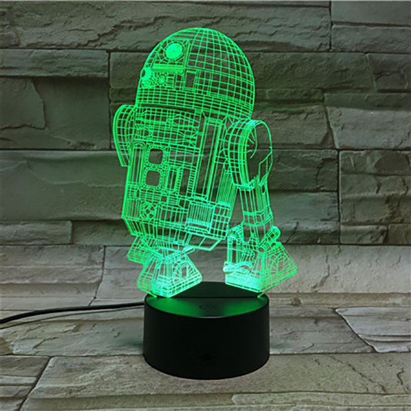 Novelty Lights Astromech Droid Robot R2 D2 Star Wars Nightlight Child Kids Gift Office Decoration 3d Led Night Light Lamp