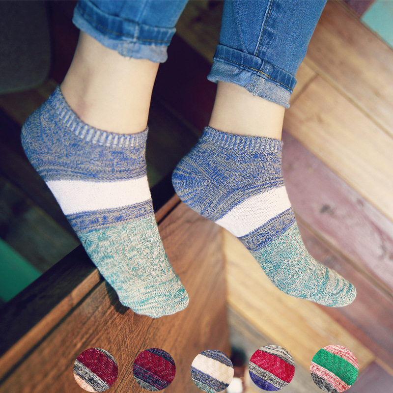 5 Pairs/lot Women Men Spring Cotton Socks Striped Short Colorful Socks Japanese Retro Patchwork Thick Ankle Socks Boat Soks