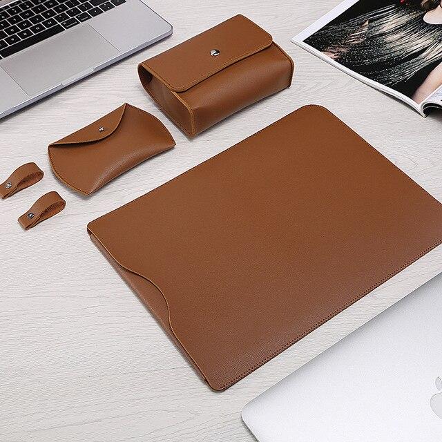 Sıcak PU deri dizüstü bilgisayar kol çantası Macbook Air 13 Retina 11 12 15 dizüstü bilgisayar kılıfı için Xiaomi Pro 15.6 kadın erkek su geçirmez kapak