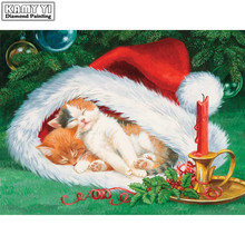 Diy round drill diamond painting cross stitch mosaics Full cover embroidery Christmas hat sleeping cat gifts