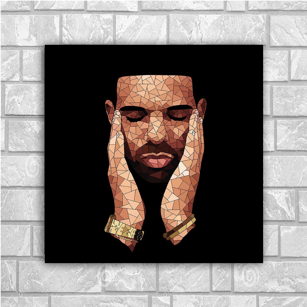 Drake Music Star Art Canvas Poster Home Decor 12x12 24x24inch image