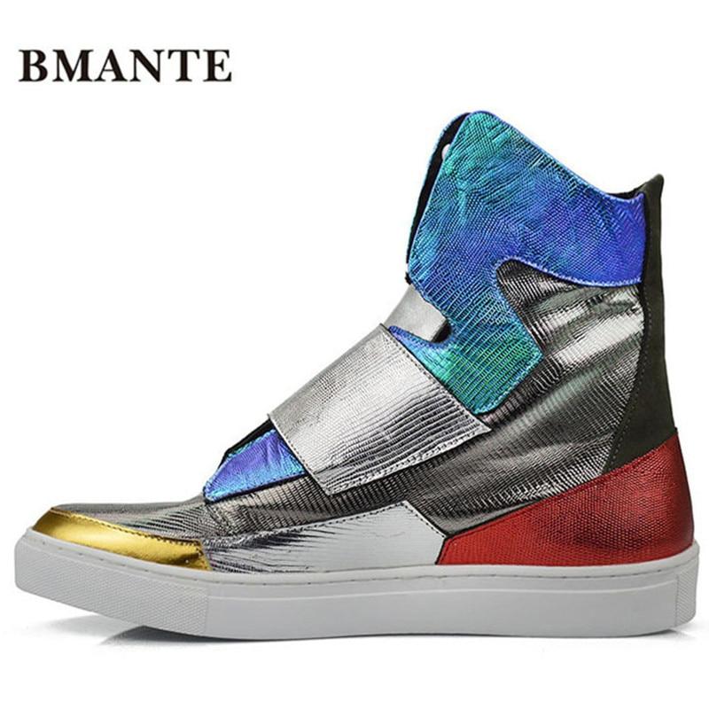2019 China Luxe Designer Fashion Merk Casual Hoge top Echt Lederen Mannelijke Schoen tenni krasovki Hip Hop raf laarzen voor mannen-in Motorolie van Schoenen op  Groep 1