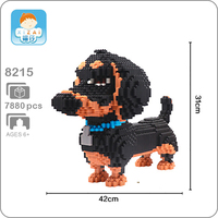 31cm tall Dachshund Pet Dog Black Animal Micro DIY 3D Model 7880pcs Mini Building Blocks Bricks Assembly Toy Gift