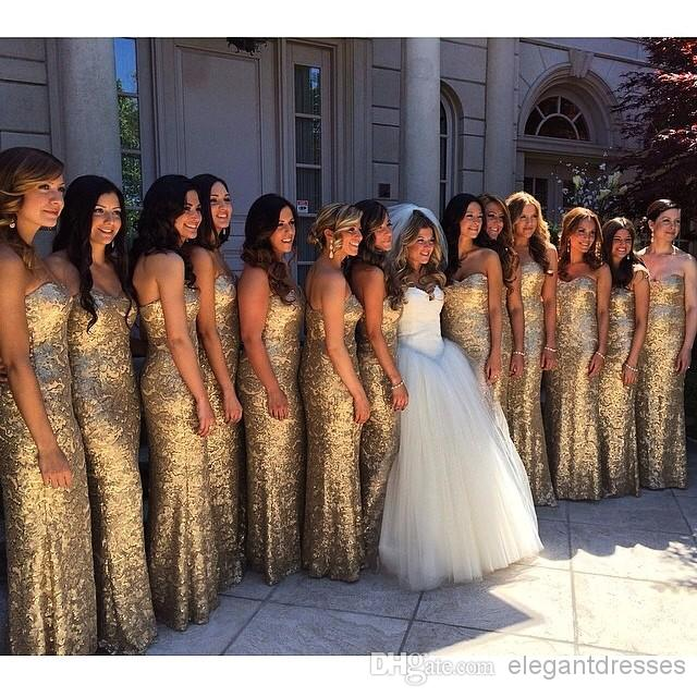 Hot 2016 Elegant Strapless Gold Long Bridesmaid Dresses Sequins A Line Prom Dress Party Gowns Vestido De Festa C41 In From