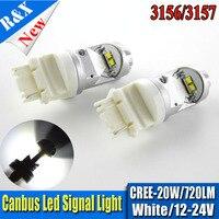 2x20 Вт T25 3156 3157 светодиодный источник света автомобиля 4SMD xb-д светодиодных чипов Canbus сзади сигнала лампы P27W P27/7 Вт Обратный лампа Анто AC12-24v