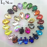 24pcs More Colors 13x18mm Teardrop Droplet Glass Crystal Fancy Stones With One Loop Silver Claw Settings