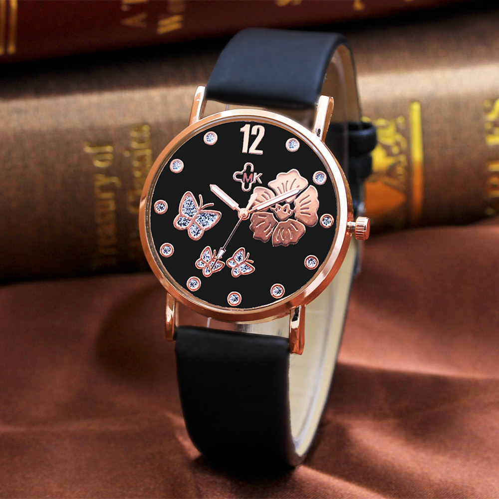 Women Watches Beautiful  Fashion Color Strap Digital Dial Leather Band Quartz Analog Wrist Watches Relogio Masculino