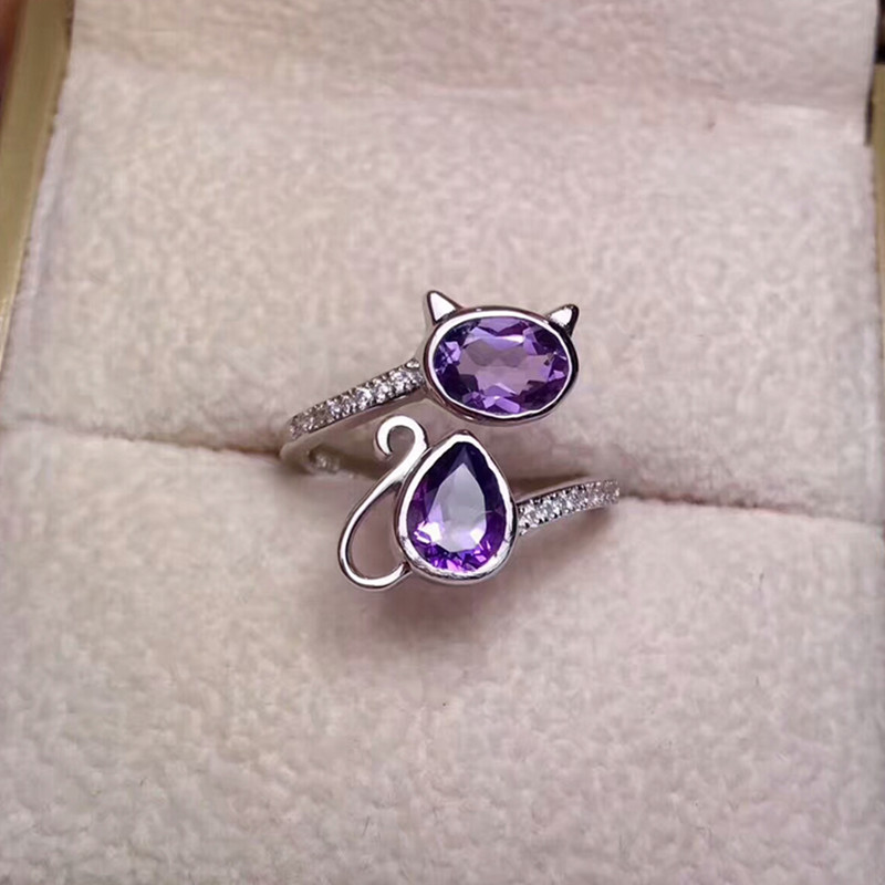 925 silver gemstone rings for women hot sale natural purple amethyst adjustable party engagement ring hand fine jewelry
