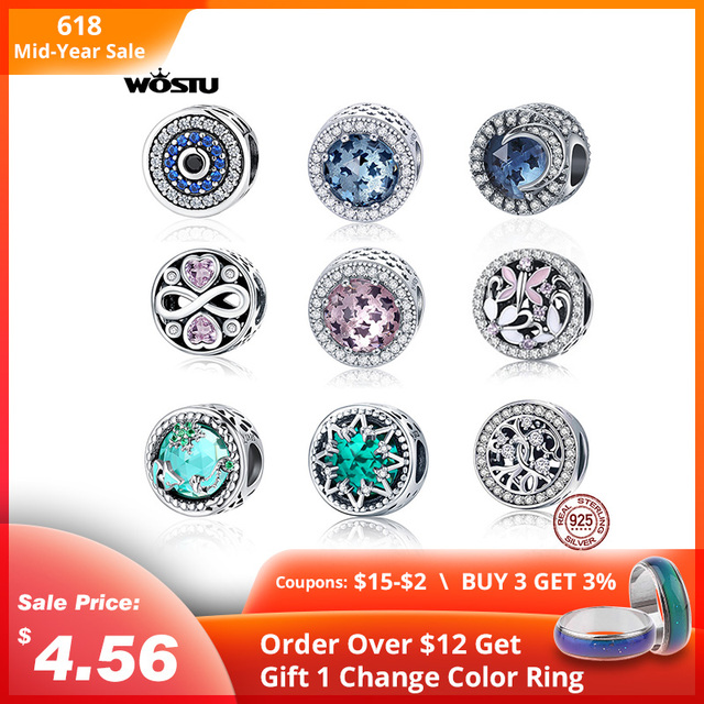 WOSTU 100% 925 Sterling Silver Blue Pink Crystal Radiant Round Beads Charms Silver 925 Original Fit Bracelet DIY Jewelry Making