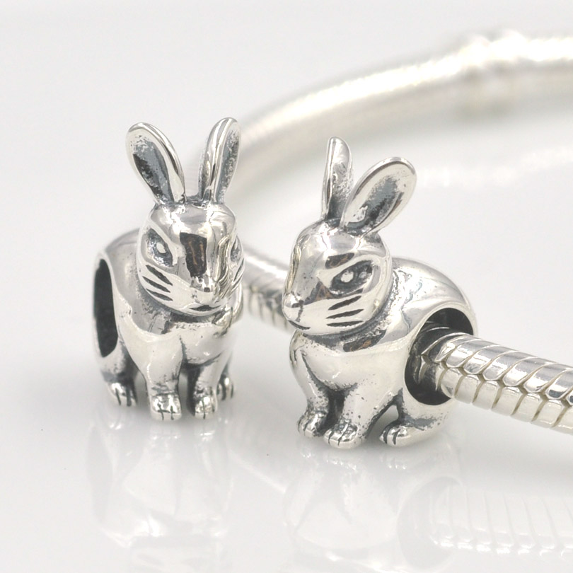 Rabbit Animal 925 Sterling Silver Charms European Beads for Snake Chain Bracelets Mother's Day Gifts Jewellery wgt0jmCrA