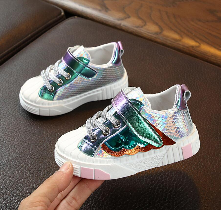 With Wing New Children Shoes Fashion Kids Soft Bottom PU Leather Sport Sneakers Baby Autumn Breathable Toddler Shoes