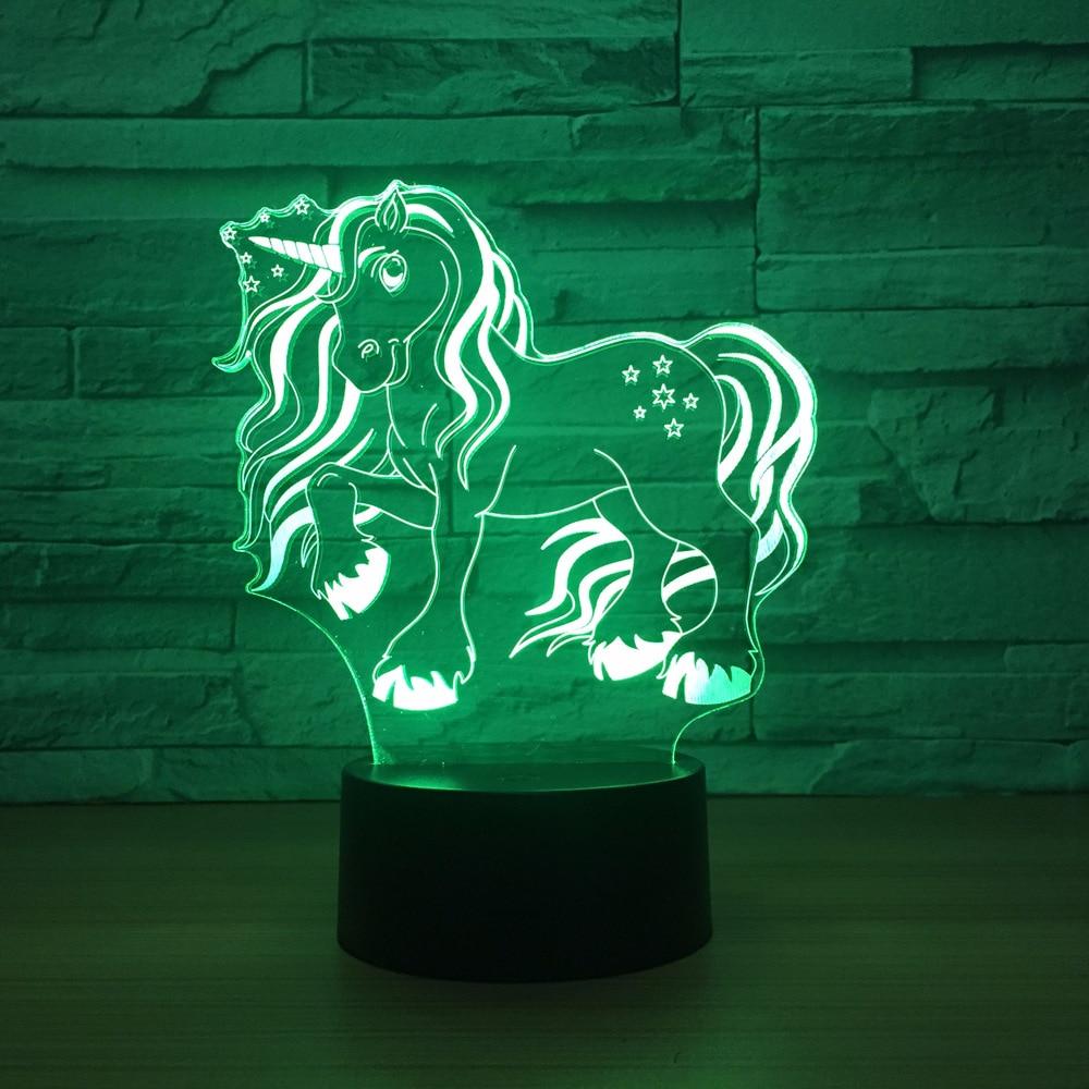 Kawaii Unicorn Novelty toy animal lamp 7 color changing visual illusion LED light Unicorn decro toy action figure birthday gift