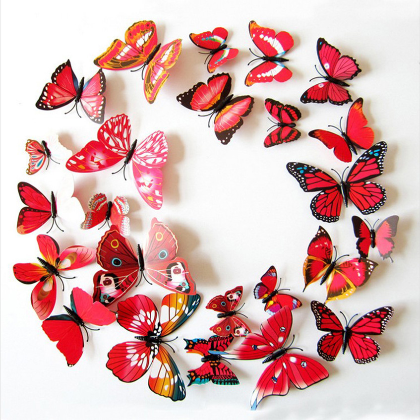 ⊱12 unids/set PVC 3D flor roja mariposa decoración Adhesivos de ...