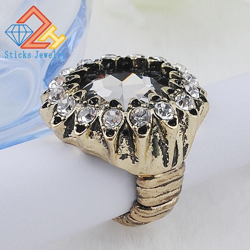 Personalizado Elegante Grande Anel de Pedras de Vidro Grande Moda Feminina Estiramento Anel Elástico Direto Da Fábrica