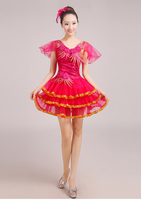 The new modern dance costume sequined short paragraph cheongsam classical tutudo595