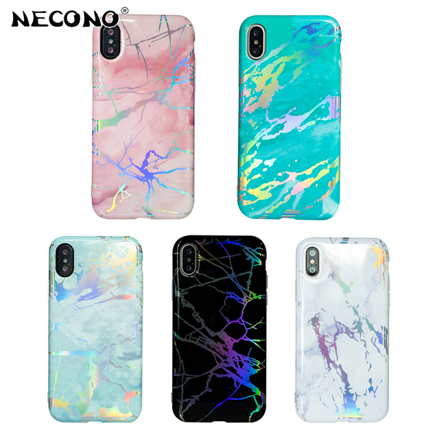 NECONO Colorful Laser Marble Phone Case For iphone X 6 6s 7 8 Plus Lovely Candy  Color Granite Texture Soft IMD Back Cover Coque 106a4faca318
