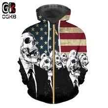 OGKB mujeres hombres Cardigan sudaderas cráneo imprimir bandera americana  Sudadera con capucha hombre Casual Slim Fit bolsillo P.. d9361150633
