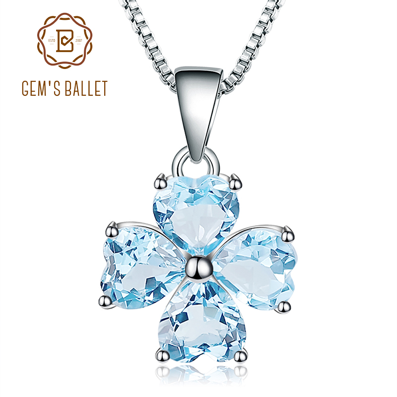 GEM'S BALLET 3.83Ct Natural Sky Blue Topaz Gemstone Pendant 925 Sterling Silver Clover Pendant Necklace For Women Fine Jewelry