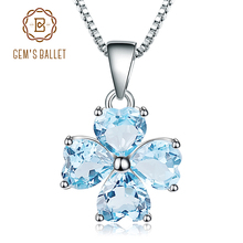 GEMS BALLET 3.83Ct Natural Sky Blue Topaz Gemstone Pendant 925 Sterling Silver Clover Pendant Necklace For Women Fine Jewelry