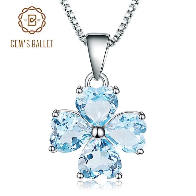 GEMS BALLET 3.83Ct Natural Sky Blue Topaz Gemstone Pendant 925 Sterling Silver Clover Pendant Necklace For Women Fine Jewelry