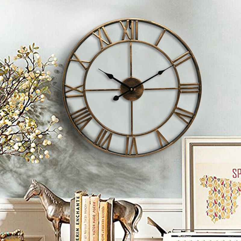 Grande 3d adesivo de parede relógio relógios numeral romano silencioso decorativo para café loft hotel barra escritório sala estar quarto