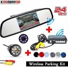 Koorinwoo 2019 Wireless Sensore di parcheggio Radar sistema di Assistenza Kit Parktronic 4.3 Monitor Dello Specchio Retrovisore Della Macchina Fotografica Adattatore Sensore