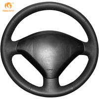 Steering Wheel Cover For Peugeot 307 Car Special Hand Stitched Black Leather Covers